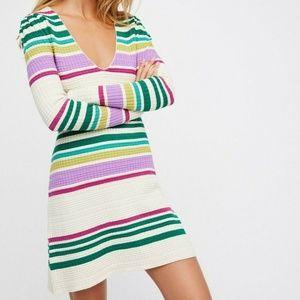 Free People Gidget Sweater Dress Knit Mini Ivory M
